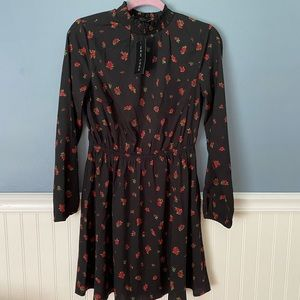 NWT ASOS black dress with rose print size 6